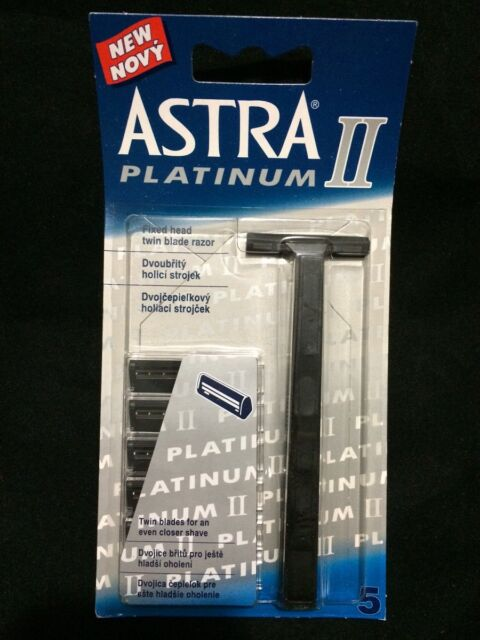 Astra Platinum ll Fixed Head Twin Blade Shaving Razor Set With 5 Blade Men Women