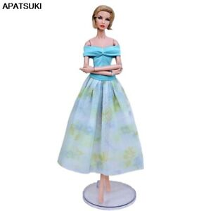 Blue-1-6-Doll-Clothes-For-Barbie-Doll-Outfits-Party-Gown-Short-Top-amp-Midi-Skirt