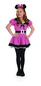 Girls-Minnie-Costume-M-L-Kids-Pink-Mouse-Fancy-Dress-Book-Week-Cartoon