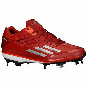 New Adidas Energy Boost Icon Low Metal Mens Baseball Cleats - Red