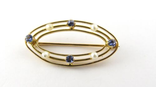 Vintage 10 Karat Yellow Gold Synthetic Sapphire a… - image 1