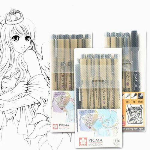 Markers Set Pigma Micron Pen Soft Brush Drawing Painting Waterproof Pen 005 01