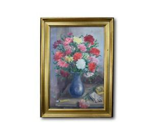 French-Vintage-Flowers-and-Cigarettes-Still-Life-Oil-Painting-on-Canvas-Signed