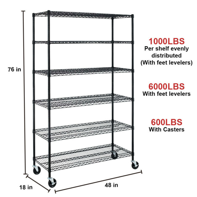 48x18x82, Black HGS Wire Shelving Unit 6-Tier Height Adjustable Heavy Duty Metal Shelf with Wheels Utility Steel Commercial Grade Storage Shelves for Kitchen Garage Office NSF-Certified