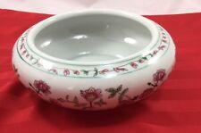 "Oriental Fish Bowl Planter Pink Flower Design New England Pottery 6.5"" Diameter"
