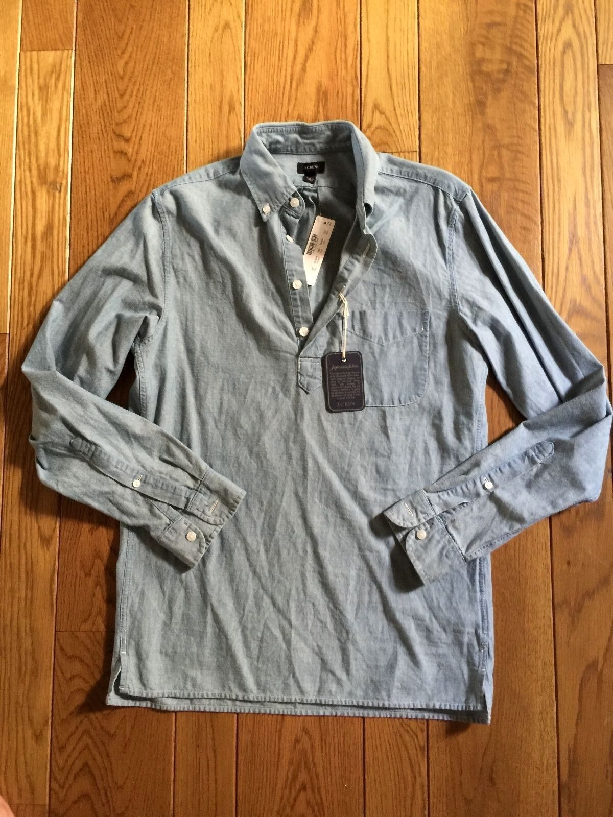 J CREW Japanese Fabric bluee Popover Shirt XS NWT