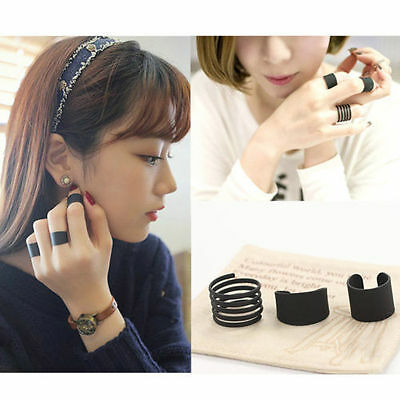 3 PCS New Fashion Ring Set Black Stack Plain Above Knuckle Ring Band Midi Rings