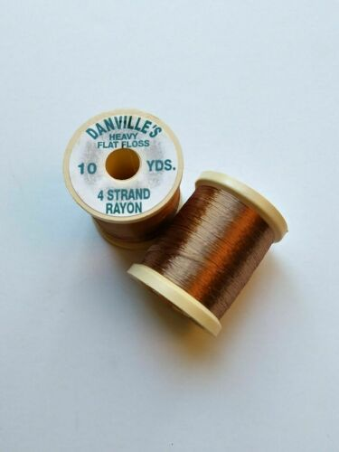 2 bobines Danville/'S HEAVY FLAT Floss 4 Strand rayonne 10 yds La Pêche objet 196