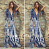 Fashion Women Sexy V Neck Three Quarter Cocktail Evening Party Long Maxi Dress