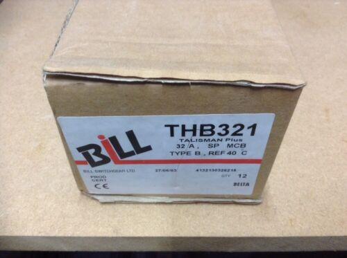 "BILL THB321 MEMSHIELD 2 MBH132 32Amp MCB 10kA Type B  "" NEW /& BOXED """