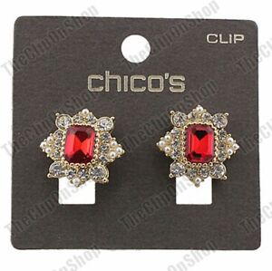 CLIP-ON-STUDS-antique-style-RED-RHINESTONE-ornate-EARRINGS-gold-fashion-crystal