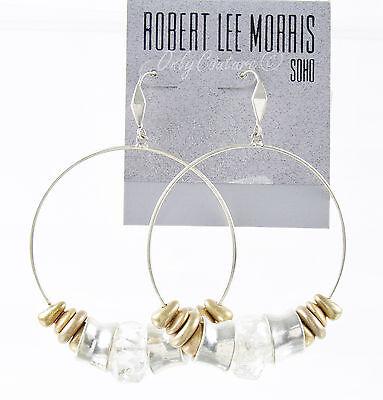 NEW ROBERT LEE MORRIS Soho Clear Bead Two-Tone Gypsy Hoop Drop Earrings
