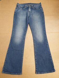 Bb321-Damen-Levi-039-s-529-Ausgewaschenes-Blau-Stretch-Bootcut-Denim-Jeans-UK-12-w30-l32