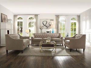 Details about Modern 3 piece Living Room Couch Set Beige Tufted Fabric Sofa  Loveseat Chair RA3