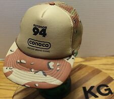 VINTAGE CONOCO OUTDOOR 94 OLD SCHOOL BROWN CAMO SNAPBACK HAT MESH BACK VGC