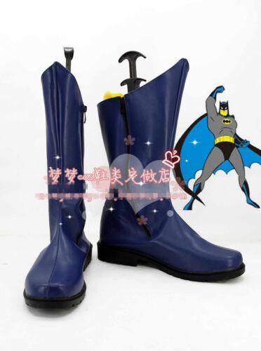 Batman Bruce Wayne Cosplay Shoes High Boots Custom-made 1966 Film Style DC Hero
