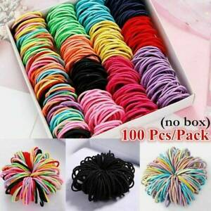 100Pcs-Women-Girls-Elastic-Rope-Hair-Ties-Ponytail-Holder-Rubber-Band-Hairband