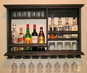 Details About Black Floating Shelf Mini Bar Liquor Cabinet Rustic Wall Mount Rack Storage Wood