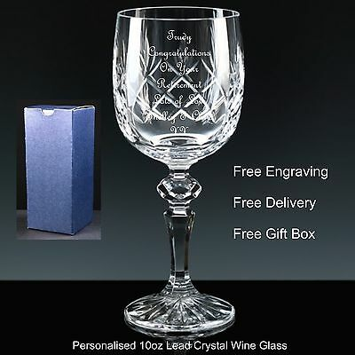 Birthday Gift Wedding Personalised Engraved Cut Crystal Flute Glass Retirement