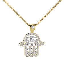 Sterling Silver Hamsa Hand Pendant 14k Gold Finish Sterling Silver Lab Diamonds