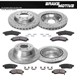 Front-Rear-Drill-Slot-Brake-Rotors-And-Metallic-Pads-For-Chevy-Trailblazer-Envoy