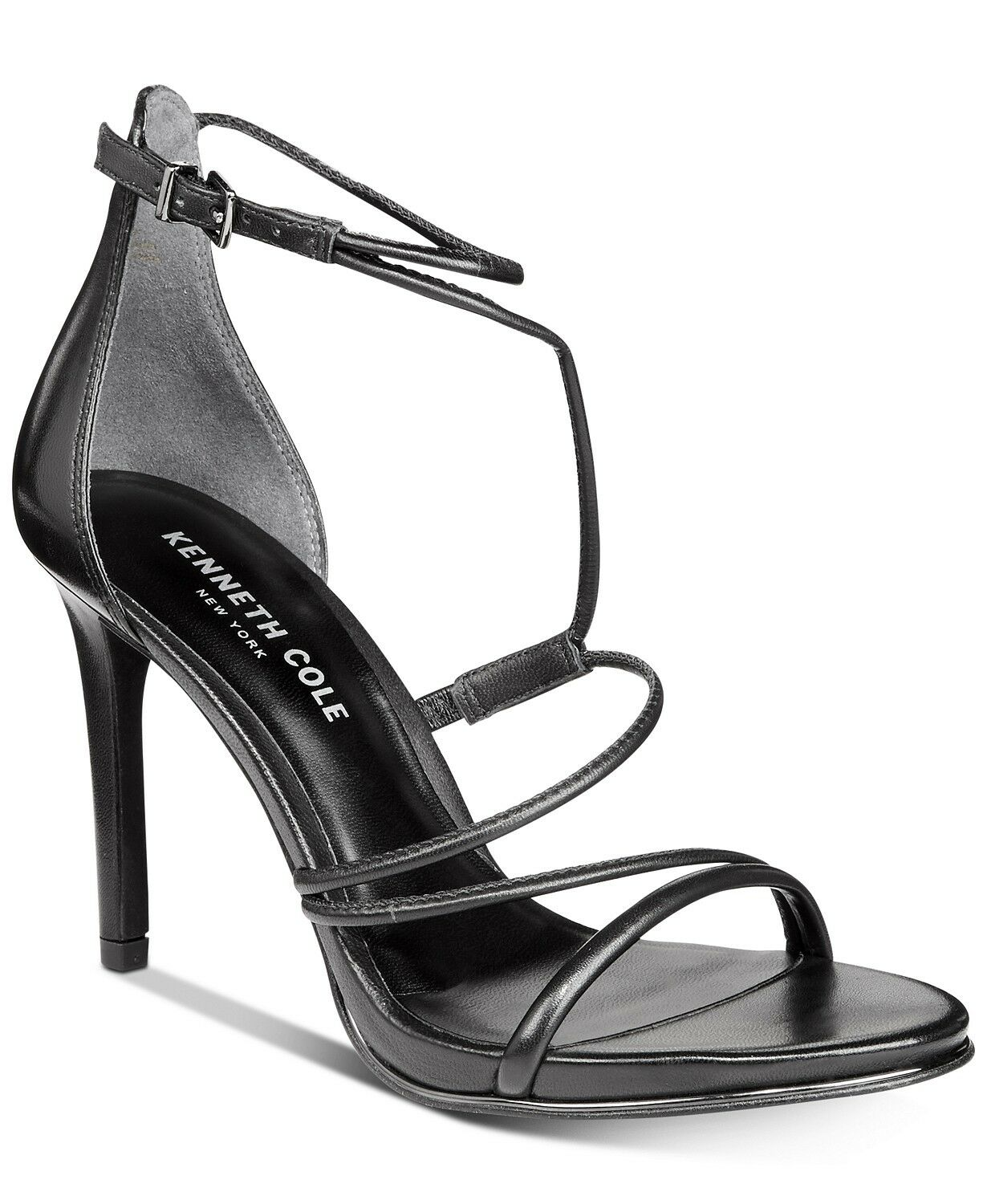 Kenneth Cole New York Women's Bryanna Strappy Dress Sandals Size 6 Black Leather