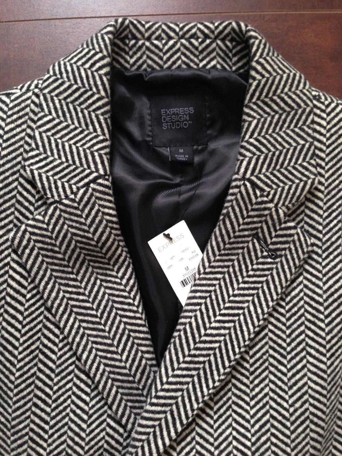 BNWT Express Design Studio men's herringbone wool dress coat (M)