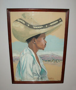 Old-Vtg-1940s-Folk-Art-Portrait-Painting-Mexican-Man-Wearing-Sombrero-Watercolor