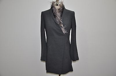Brunello Cucinelli Made in Italy Ostrich Feather Fur Wool Blend Jacket Coat