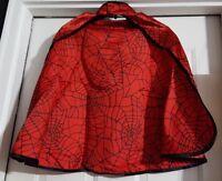 Red Spider Web Print 3 Piece Costume Hood Cape & Belt Set Boys Med Age 5/6
