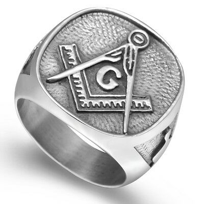 Size 7-15 Stainless Steel Masonic Ring Mason Master Army Crusade Templar Retro