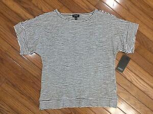 NWT-Jones-New-York-Women-s-Black-amp-White-Top-Blouse-Striped-Size-S-MSRP-49