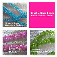 Crackle Glass Beads 12mm Green 6mm Blue 10mm Pink Beads