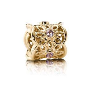 NEW-Authentic-Pandora-14K-Gold-Golden-Radiance-Sapphire-Charm-750803PSA-w-Box