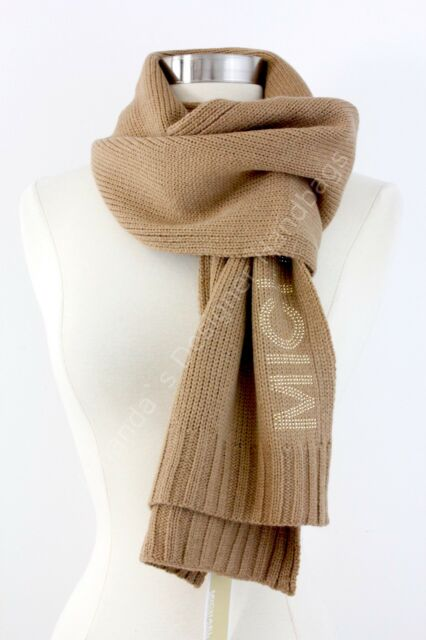 36e1440f89 Michael Kors Studded Logo Cable Knit Long Scarf 74x10 Beige Camel ...
