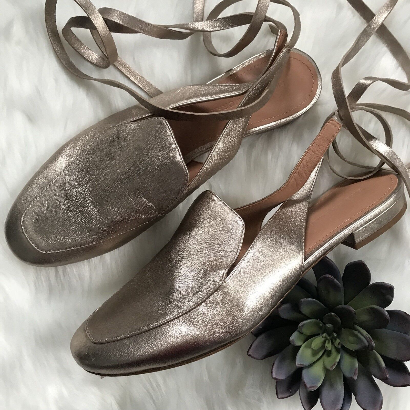 Sigerson Morrison Sz 7.5 Bena Backless Loafer Mule gold Leather Ankle Wrap Flats
