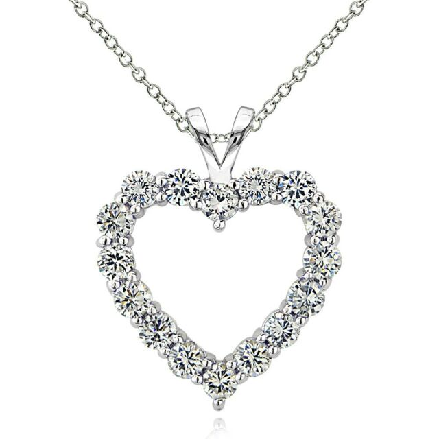 925 Sterling Silver 1.75 Ct Cubic Zirconia Open Heart Necklace