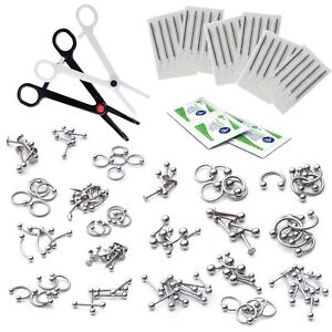 Piercing-Starter-Kit-14G-16G-316L-Body-Jewelry-with-Piercing-Needles-200-Pieces