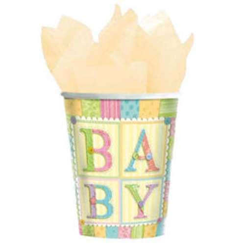 8 BABY SHOWER Cute as a Button 9oz PAPER CUPS ~ Party Supplies Beverage Drink