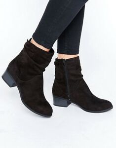 EX-HIGH-STREET-WOMEN-039-S-BOOTS-SLOUCH-ANKLE-CHELSEA-STYLE-ZIP-BLACK-WARM-UK-3-UK-8