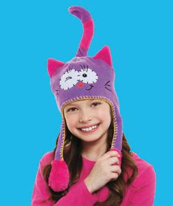 Children's Kitty Cat Flip Purple Pink Winky Eye Tail Flip Squeezy Beanie Hat!