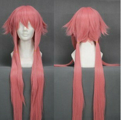 The Future Diary Gasai Yuno Long Pink Cosplay Wig 100CM    AE130