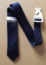 Calvin Klein da uomo Cravatta di seta nuovo con etichetta-Navy Blue Tie Cravatta Con Clip -