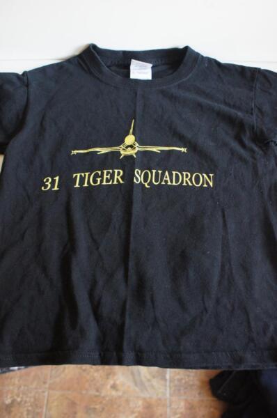 31 Squadrone Tiger T-shirt In Nero Taglia Giovani Di Piccole Dimensioni.