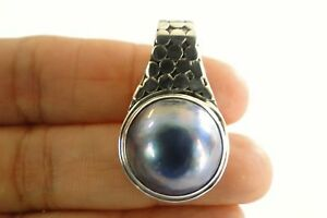 Round-Black-Mabe-Pearl-Solitaire-925-Sterling-Silver-Slide-Pendant
