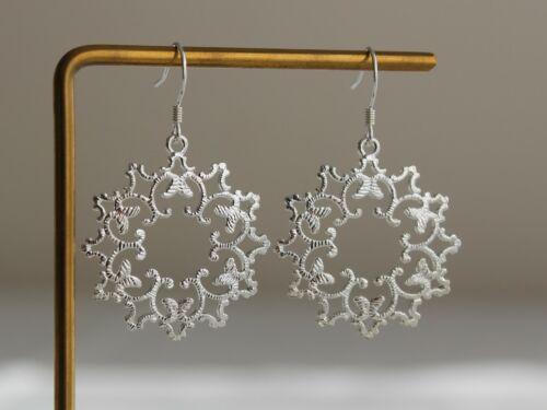 Círculo plateado plata pendientes de filigrana pendientes bohemio marroquí Flor Encaje