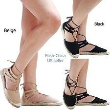 New Women Wtk Black Beige Espadrille Flats size 6 to 10