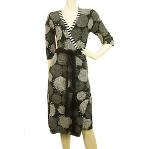 Marc-Cain-Floral-Printed-Black-Gray-Viscose-V-neck-Dress-Sz-3