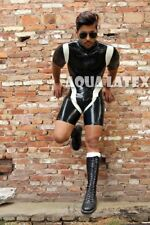 Transparent Cyclist Rubber Latex Catsuit with Short Cap Sleeve Man Body Suit