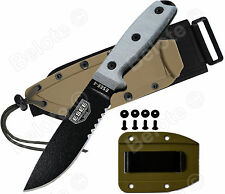 ESEE Model 4 Black Serrated With MOLLE Back & Coyote Brown Molded Sheath 4S-MB